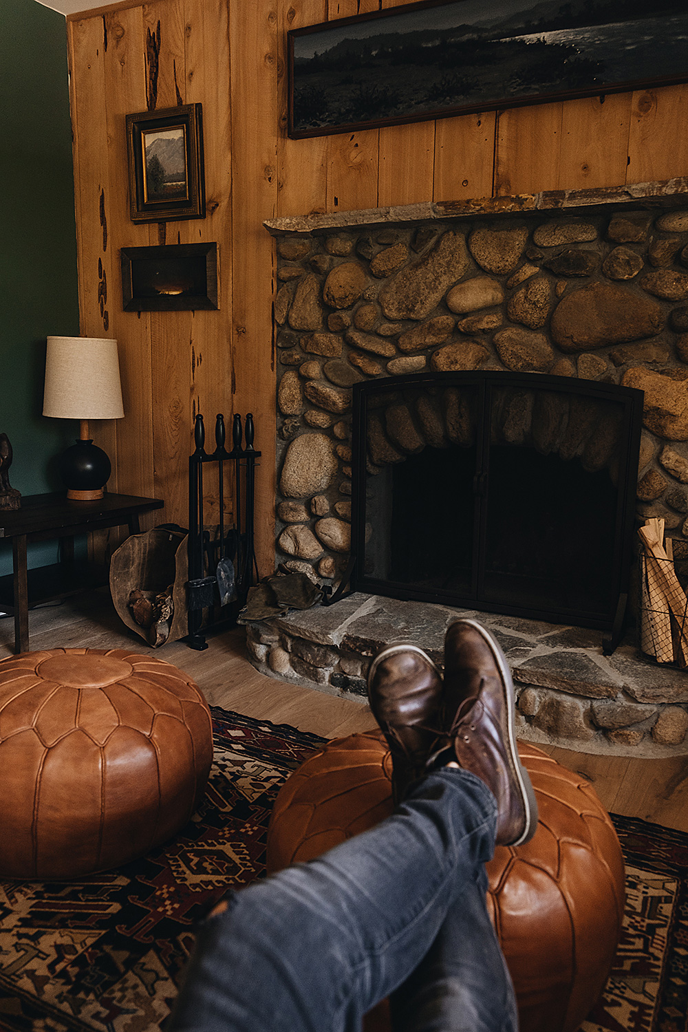 Cozy wood burning fireplaces in each of our mountain cabin rentals at the Kern River House