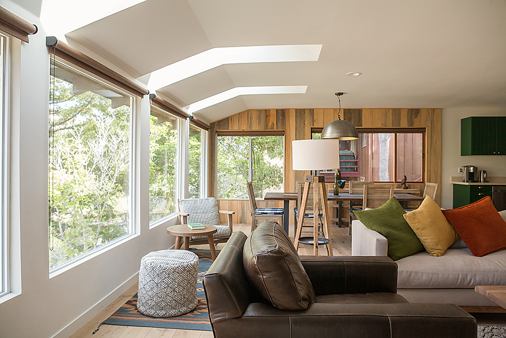 Modern rustic remodeled Kern River House with wide picture windows and sunny skylights to capture the Sierra Nevada vistas