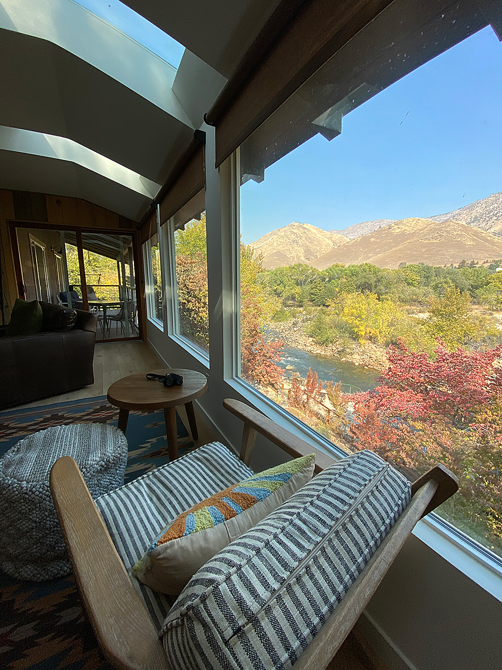 The best Kern River views while sitting in modern lodge cabin style from your vacation home rental the Big View House.