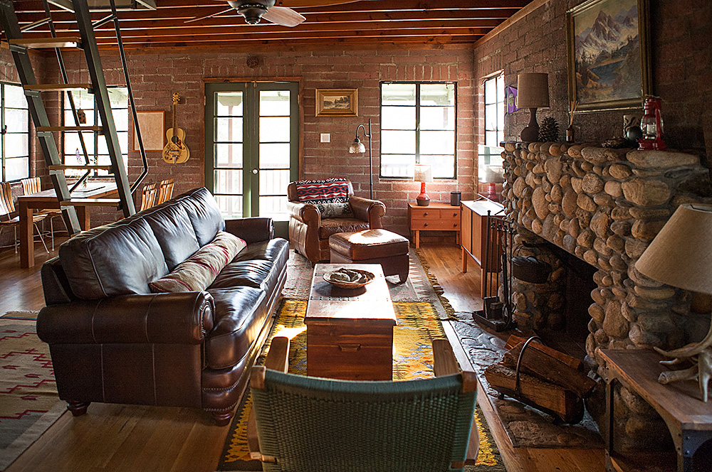 Living Room of Kern River fishing cabin in the southern Sierras